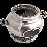 Figural Japanese Open Salt Dish 1930 K. Uyeda 950 Silver