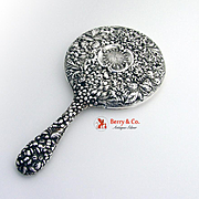 Floral Repousse Hand Mirror Stieff 1920 Sterling Silver