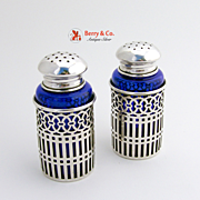 Gothic Salt And Pepper Shakers Cobalt Watson Sterling Silver