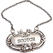 Scotch Bottle Tag Sterling Silver 1920
