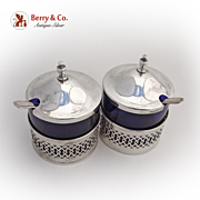 SALE PENDING Mustard Pots Pair Cobalt Webster 1940 Sterling Silver