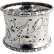 SOLD Floral Chased Napkin Ring 1870 Coin Silver