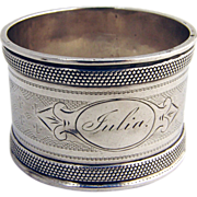 SOLD Engine Turned Napkin Ring 1880 Coin Silver