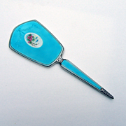 Vintage Sterling Silver Edwardian Hand Mirror Guilloche Enamel Turquoise Color 1920