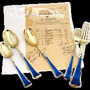 Important Flatware Set With Receipt Guilloche Enamel Sterling Silver Peter Hertz 1909