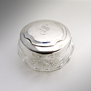 Dresser Jar Sterling Silver And Cut Crystal 1920