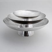 Japanese Set of 3 Serving Bowls Sterling Silver