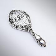 Cherub Floral Scroll Hand Mirror Sterling Silver Levi Salaman 1903