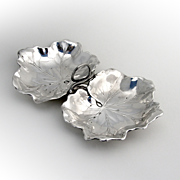 Figural Leaf Double Bowl Sterling Silver Reed Barton 1942