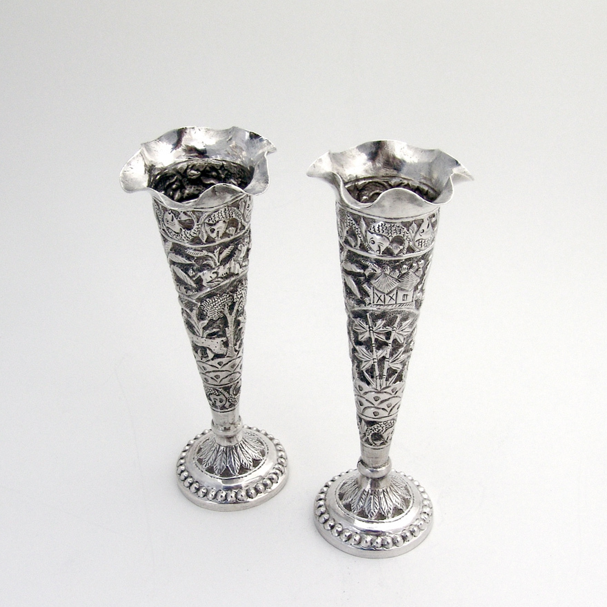Pair Of Ornate Indian Colonial Bud Vases Sterling Silver