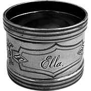 SOLD Aesthetic Engine Turned Coin Silver Napkin Ring 1880