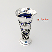 Openwork Floral Scroll Trumpet Form Vase With Glass Insert Sterling Silver Glass Gorham
