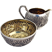 Antique Indian Colonial Tribal Village Repousse Creamer And Sugar Bowl Sterling Silver Grish .