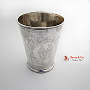 Unique Antique Large Drinking Cup Sterling Silver 1700s