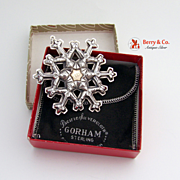 SALE Gorham Snowflake Christmas Ornament Sterling Silver Gold Filled 1981