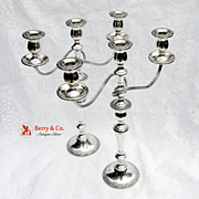 Prelude Three Branch Candelabra Sterling Silver Pair International 1939