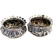 Pair Of Ornate Repousse Open Salt Dishes Sterling Silver B.S.C. 1900