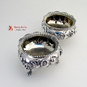 Pair Of Heavy Large Ornate Repousse Floral Scroll Open Salt Cellars Sterling SIlver Daniel Cha