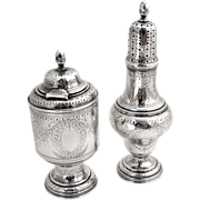 Floral Laurel Mustard Pot And Salt Shaker Sterling Silver William Gale 1870