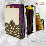 SOLD Antique Openwork Renaissance Revival Hinged Bookshelf Bookend 1900