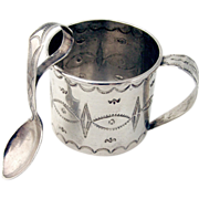 Navajo Baby Cup And Curved Handle Baby Spoon Sterling Silver 1940