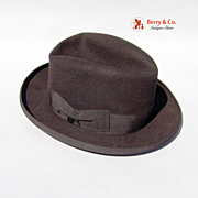 Barbisio Titan Italian Brimmed Black Fedora Felt Silk Leather