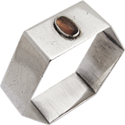 Hexagonal Napkin Ring Sterling Silver Citrine Cabochon Pay 1931