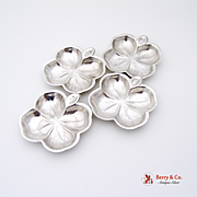 Set Of 4 Four Leaf Clover Nut Cups Sterling Silver Lenox 1940