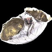 SOLD Amazing Figural Curled Leaf Bowl With Bug Sterling Silver Gilt Copper Shiebler 1900