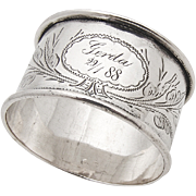 SOLD Antique 800 Silver Napkin Ring Floral