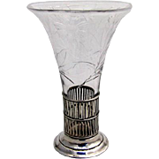 Floral Cut Glass Vase Sterling Silver 1940