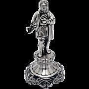 Unique Renaissance Male Writer Figurine 800 Silver 1900