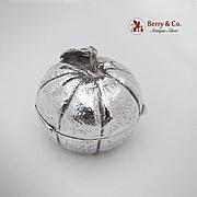 British Import Figural Tangerine Pill Box Sterling Silver 1980