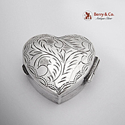 Engraved Heart Form Pill Box Sterling Silver