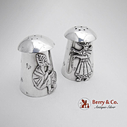 Peruvian Stylized Men Salt And Pepper Shakers Sterling Silver 1940