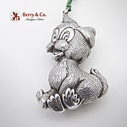Figural Cartoon Dog Christmas Ornament Sterling Silver 1960