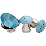 Danish Open Salt Dishes And Pepper Shakers Sterling Silver Guilloche Enamel 4 Pieces Ela 1946