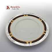 Aesthetic Ornate Rimmed Dinner Plate Sterling Silver China Shreve Co 1910