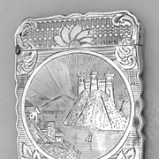 Card Case Lakeside Mountain Castle Coin Silver 1860