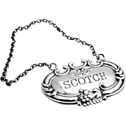 Scotch Liquor Bottle Tag Label Sterling Silver 1920