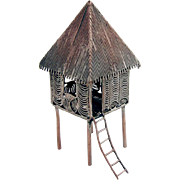 Filigree House Shack Figurine Silver Plate 1960