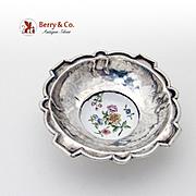 Antique Open Salt Dish Or Small Serving Bowl Sterling Silver Porcelain 1820