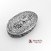 Hand Made Horn Of Plenty Oval Pillbox Sterling Silver William Meyer 1930