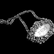 Port Liquor Bottle Tag Sterling Silver Thomas Goode 1931