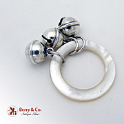 Three Bell Baby Rattle Teething Ring Sterling Silver Mother Of Pearl La Pierre 1900