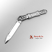 All Silver Folding Pocket Or Fruit Knife Sterling Silver 1880