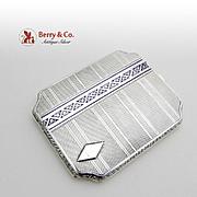 Engraved Cigarette Case 935 Sterling Silver Enamel 1930