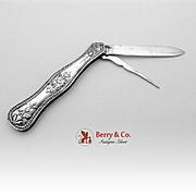 All Silver Folding Pocket Or Fruit Knife Sterling Silver 1870