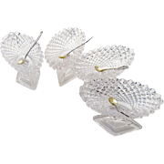 Sheraton Style Oval Open Salt Dishes Salt Spoons Sterling Silver Pressed Glass 4 Sets 1940