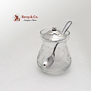 SALE PENDING Mustard Pot Spoon Sterling Silver Cut Crystal Webster 1940